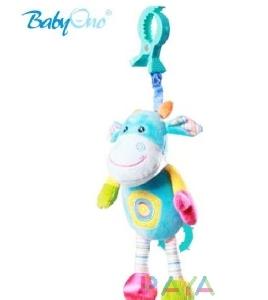 Шарена бебешка играчка кравичка със звукови ефекти // Babyono