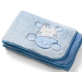 Синя плюшена бебешка пелена с 2 лица 75/100см. // Babyono