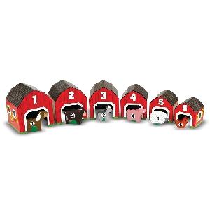 Детски комплект дървени къщички с животни за ориентация