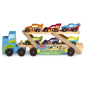 Детски дървен автовоз с коли
