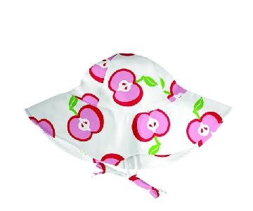 Шапка за бебета и малки деца от 2 до 4 години - слънцезащитна с периферия - Lassig White Apple
