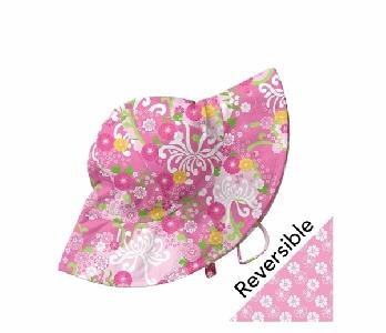 Двулицева бебешка шапка за слънце с периферия Lassig Light Pink Mum Garden 6- 18м
