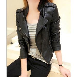 Дамско яке от изкуствена кожа, черно есенно-пролетно