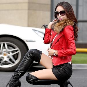 Дамско модерно кожено яке, есенно-зимно