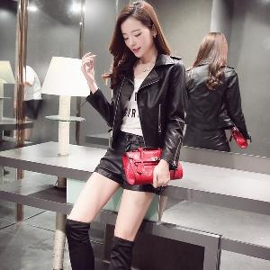 Дамско кожено черно яке, есенно-зимно