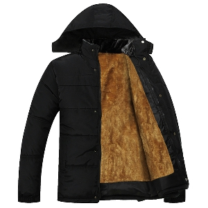 Зимно мъжко дебело яке, подплатено отвътре с велур, с качулка