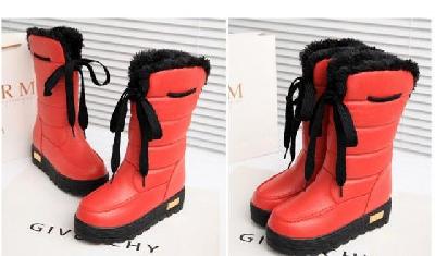 Дамски зимни високи ботуши от изкуствена кожа за най-студените дни от годината - бял, черен, червен