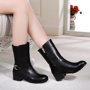 Дамски зимни комфортни ботуши - черни и кафяви, с кадифена подплата