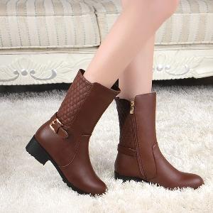 Γυναικείες  άνετες μπότες - μαύρες και καφέ, με βελούδινη επένδυση