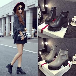 Дамски зимни ботуши от изкуствена кожа - топ цени, стилни, есенни и зимни, два модела - черен и сив