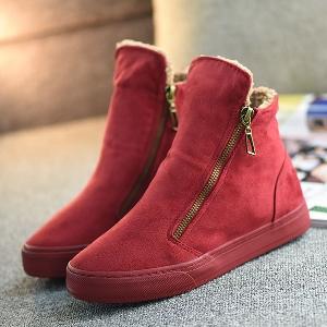 Дамски зимни обувки с цип - стилни и пухени - червени, черни, тъмносини и кафяви