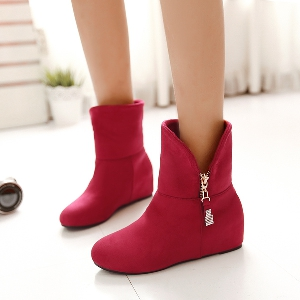 Дамски есенни и зимни обувки със страничен цип, три цвята - лилав, червен и черен