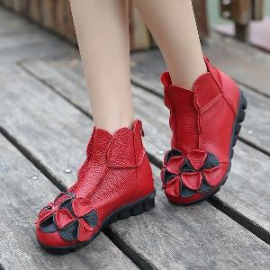 Дамски есенни и зимни обувки, ежедневни и официални в ретро дизайн - оранжеви, черни, червени