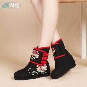 Дамски платнени обувки, декорация с цветя на черен фон, ежедневни и стилни, - есен, зима, пролет