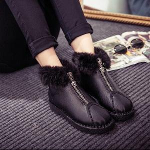 Дамски стилни зимни пухени обувки от изкуствена кожа, модерни в два цвята - черен и сив
