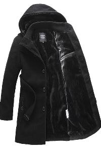 Вълнени мъжки палта със сваляща се качулка  - 2 модела