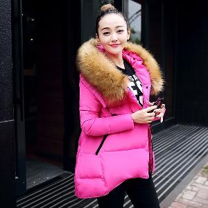 Дамско зимно яке с пух, елегантно и стилно, - бежово, сиво, черно, зелено, розовочервено