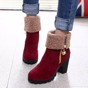 Дамски есенни и зимни ботуши, елегантни и топли, няколко цвята, модели с повече памук