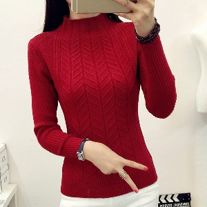 Дамски зимен пуловер  с яка - пет различни цвята