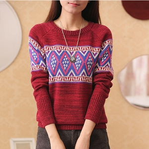 Шарен дамски модерен зимен пуловер - 3 модела