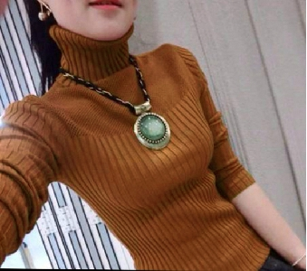 Стилен дамски пуловер тип поло в 7 различни цвята