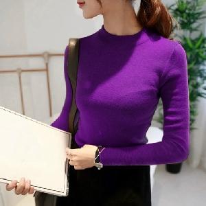 Стилен дамски пуловер в 9 различни цвята