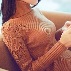 Дамски пуловер с висока яка и без яка в 8 цвята