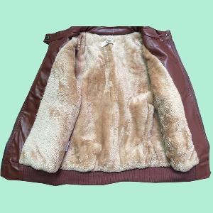 Детско яке от изкуствена кожа за момчета - кафяво и черно