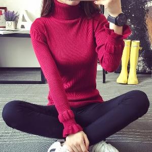 Дамски пуловер с висока яка в 5 цвята
