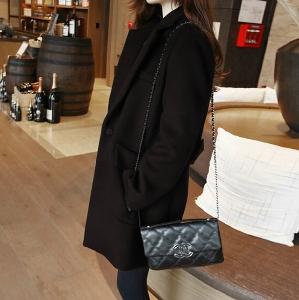 Дамско дълго зимно палто - виненочервено, черно и сиво