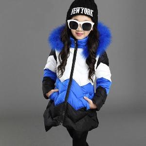 Детско дълго зимно памучно яке за момичета - модел в син и розов цвят