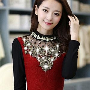 Дамска риза с и без кадифе - червена и черна