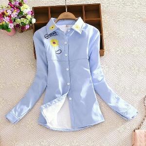 Дамски модерни ризи с кадифе в два стилни модела - бяла и синя