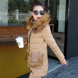 Дамско модерно дълго яке в различни цветове - червено, кафяво, черно и сиво - есенно и зимно
