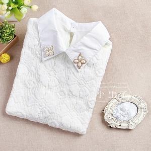 Стилна дамска блуза с яка и камъни