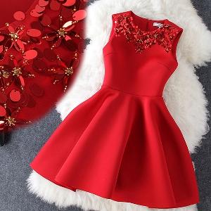 Стилна дамска рокля с пайети- Червена, Розова, Черна