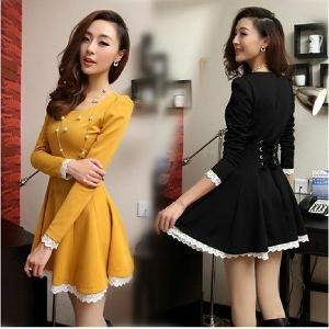 Дамска разкроена рокля: черна, бяла, жълта, розова ,с дантела и връзки