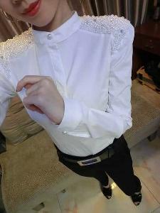 Дамска  риза с мъниста - Бяла и Черна