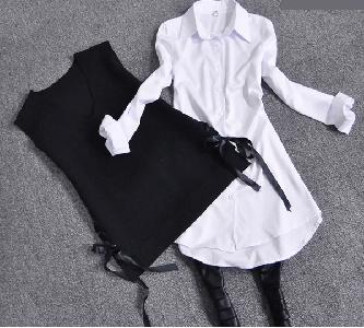 2 части Дамска дълга бяла риза с черна къса жилетка