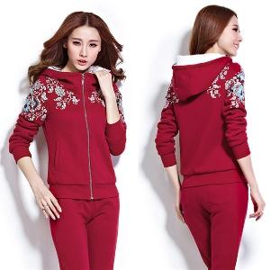 Есенно-зимен спортен дамски комплект от 2 части - в сив,син и червен цвят