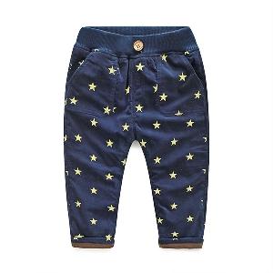 Дълги панталони за бебета и малки деца - сини, зелени, кафяви, оранжеви със звездички