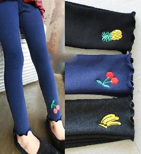 Детски клинове с бродерия за момичета - черешка, банан, ананас - сиви, черни и тъмнодини