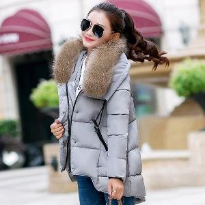 Μακρύ γυναικείο μπουφάν για το  χειμώνα  με χνούδι - κόκκινο, μαύρο, γκρι