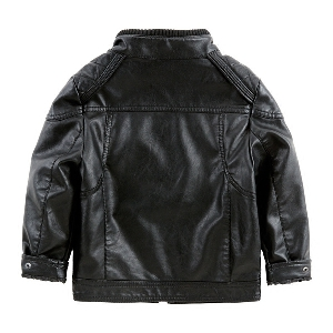 Детско кожено яке - черно - с кадифе и без кадифе за момчета