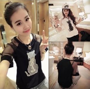 Дамска блуза с къс ръкав -черна и бяла