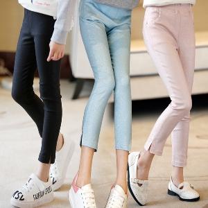Детски слим панталони за момичета в три цвята - син, розов и черен