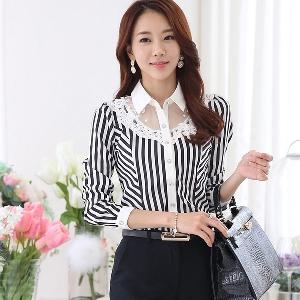 Дамска стилна риза бяло с черно