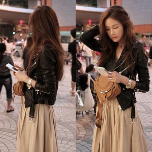 Дамско черно късо слим яке от изкуствена кожа за пролетта
