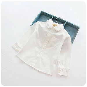 1624bfa9040b Παιδικά λευκά πουκάμισα με μακρύ μανίκι για κορίτσια - Badu.gr Ο ...