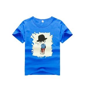 Детски тениски с къс ръкав и анимации за момчета и момичета - червена, синя, зелена, черна и бяла